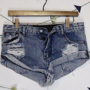 One Teaspoon Distressed Denim Raw Bandit Shorts